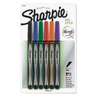 Sharpie 1976527 Assorted Ink with Assorted Barrel Color 0.5mm Water Resistant Plastic Point Stick Pen - 6/Set