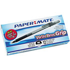 Paper Mate 8807987 Write Bros Grip Black Ink with Translucent Barrel 1mm Ballpoint Stick Pen - 12/Pack
