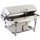 Bon Chef 12040CH Elite Rectangle 8 Qt. Dripless Stainless Steel with Chrome Accents Roll Top Chafer with Aurora Legs