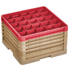 Vollrath CR10FFFFF-32902 Traex® 9 Compartment Beige Full-Size Closed Wall 11 inch Glass Rack - 4 Beige Extenders, 1 Red Extender