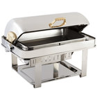 Bon Chef 14004 Elite Rectangle 8 Qt. Dripless Stainless Steel with 24K Gold Accents Roll Top Chafer with Contemporary Legs