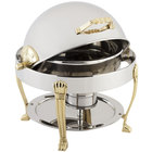 Bon Chef 12014 Petite 3 Qt. Dripless Round Stainless Steel with Brass Accents Roll Top Chafer with Aurora Legs