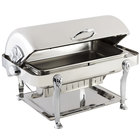 Bon Chef 18040CH Elite Rectangle 8 Qt. Dripless Stainless Steel with Chrome Accents Roll Top Chafer with Lion Legs