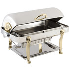 Bon Chef 18040G Elite Rectangle 8 Qt. Dripless Stainless Steel with Gold Plated Accents Roll Top Chafer with Lion Legs