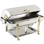 Bon Chef 18040 Elite Rectangle 8 Qt. Dripless Stainless Steel with Brass Accents Roll Top Chafer with Lion Legs
