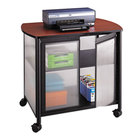 Safco 1859BL Impromptu Black / Cherry Deluxe Machine Stand with Shelf and Doors - 34 3/4