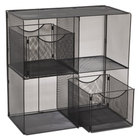 Safco 6240BL Onyx 3 Shelf Steel Mesh Fold-Up Shelving Unit - 27 1/2 inch x 11 inch x 34 1/4 inch