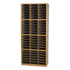 Safco 7131MO Medium Oak 72-Section Steel / Fiberboard Literature Sorter - 32 1/4