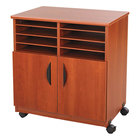 Safco 1851CY Cherry Laminate Machine Stand with 2-Door Cabinet and Sorter Compartment - 28