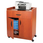 Safco 1852CY Cherry Laminate Machine Stand with 2-Door Cabinet and Pull-Out Drawer - 30