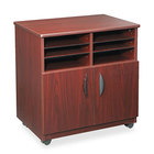 Safco 1851MH Mahogany Laminate Machine Stand with 2-Door Cabinet and Sorter Compartment - 28