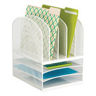 Safco 3266WH Onyx 11 1/2 inch x 9 1/2 inch x 13 inch White 8 Section Mesh Desk Organizer