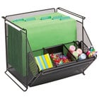 Safco 2164BL 14 inch x 15 1/2 inch x 11 3/4 inch Onyx Black 4 Section Stackable Mesh Storage Bin