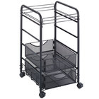 Safco 5215BL Onyx 17 inch x 15 3/4 inch x 27 inch Black Mesh Open Two-Drawer File Cart