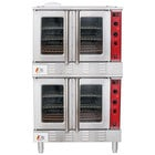 Cooking Performance Group FGC200N Double Deck Full Size Natural Gas Convection Oven with Legs - 108,000 BTU