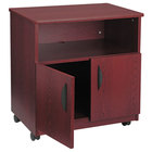 Safco 1850MH Mahogany Laminate Machine Stand with 2-Door Cabinet and Open Compartment - 28