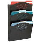 Safco 3172BL Black Steel 3 Pocket Letter Wall File