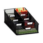 Safco 3291BL Onyx 16 inch x 8 1/2 inch x 5 1/4 inch Black 7 Section Mesh Breakroom Organizer