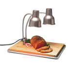 Carlisle HL8285B00 FlexiGlow 24 inch Dual Arm Aluminum Heat Lamp with Maple Cutting Board, and Drip Pan - 120V