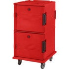 Cambro UPC1600HD158 Hot Red Ultra Camcart Insulated Food Pan Carrier with Heavy Duty Casters