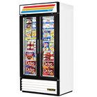 True GDM-35F-LD White Glass Swing Door Merchandiser Freezer with LED Lighting