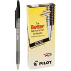 Pilot 35011 Better Black Ink with Tinted Barrel 0.7mm Ball Point Stick Pen - 12/Pack