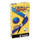 Pilot 35470 VBall Grip Black Ink with Black / White Barrel 0.5mm Roller Ball Stick Pen - 12/Pack
