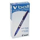 Pilot 35201 VBall Blue Ink with Blue Barrel 0.5mm Roller Ball Stick Pen - 12/Pack