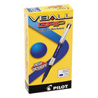 Pilot 35471 VBall Grip Blue Ink with Blue / White Barrel 0.5mm Roller Ball Stick Pen - 12/Pack