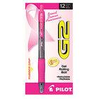 Pilot 31332 G2 Premium Pink Ribbon Black Ink with Translucent / Pink Barrel 0.7mm Roller Ball Retractable Gel Pen - 12/Pack