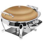 Eastern Tabletop 3938SRZ Crown 6 Qt. Round Bronze Coated Stainless Steel Induction Chafer with Freedom Stand and Hinged Dome Cover