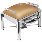 Eastern Tabletop 3964PLRZ Crown 4 Qt. Square Bronze Coated Stainless Steel Induction Chafer with Pillar'd Legs and Hinged Dome Cover