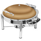 Eastern Tabletop 3938PLRZ Crown 6 Qt. Round Bronze Coated Stainless Steel Induction Chafer with Pillar'd Stand and Hinged Dome Cover