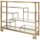 Eastern Tabletop ST1765RZ 38 3/8 inch x 9 7/8 inch x 31 1/2 inch Bronze Coated Stainless Steel Multi-Level Square Tabletop Display Stand with Clear Glass Tempered Shelves