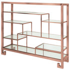 Eastern Tabletop ST1765LP 38 3/8 inch x 9 7/8 inch x 31 1/2 inch Copper Coated Stainless Steel Multi-Level Square Tabletop Display Stand with Clear Glass Tempered Shelves