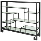 Eastern Tabletop ST1765MB 38 3/8 inch x 9 7/8 inch x 31 1/2 inch Black Coated Stainless Steel Multi-Level Square Tabletop Display Stand with Clear Glass Tempered Shelves