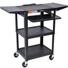 Luxor AVJ42KBDL Adjustable Height Black A/V Cart with Keyboard Shelf and Drop Leaf Shelves