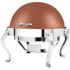 Eastern Tabletop 3118QACP Queen Anne 8 Qt. Round Copper Coated Stainless Steel Roll Top Chafer