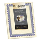 Southworth CT1R 8 1/2 inch x 11 inch Ivory Foil-Enhanced Pack of 24# Parchment Certificate Paper with Blue / Silver Foil - 15 Sheets
