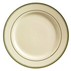 World Tableware VIC-30 Viceroy 11 inch Ivory (American White) Rolled Edge Stoneware Plate with Green Bands - 12/Case