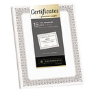 Southworth CTP1W Premium Certificates 8 1/2 inch x 11 inch White Pack of 66# Certificate Paper with Fleur Silver Foil Border - 15 Sheets