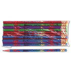 Moon 7904B Assorted Woodcase Barrel HB Lead #2 Happy Birthday Decorated Pencil - 12/Pack
