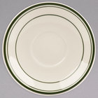 World Tableware VIC-2 Viceroy 6 inch Ivory (American White) Rolled Edge Stoneware Saucer with Green Bands - 36/Case