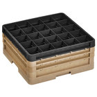 Vollrath CR8DDD-32906 Traex® 16 Compartment Beige Full-Size Closed Wall 7 7/8 inch Glass Rack with 2 Beige Extenders, 1 Black Extender