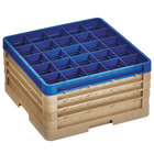Vollrath CR8DDDD-32944 Traex® 16 Compartment Beige Full-Size Closed Wall 9 7/16 inch Glass Rack with 3 Beige Extenders, 1 Royal Blue Extender