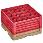 Vollrath CR8DDDDD-32802 Traex® 16 Compartment Beige Full-Size Closed Wall 11 inch Glass Rack with 5 Red Extenders