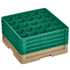 Vollrath CR8DDDD-32819 Traex® 16 Compartment Beige Full-Size Closed Wall 9 7/16 inch Glass Rack with 4 Green Extenders