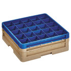 Vollrath CR8DD-32944 Traex® 16 Compartment Beige Full-Size Closed Wall 6 3/8 inch Glass Rack with 1 Beige Extender, 1 Royal Blue Extender