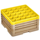 Vollrath CR8DDDD-32908 Traex® 16 Compartment Beige Full-Size Closed Wall 9 7/16 inch Glass Rack with 3 Beige Extenders, 1 Yellow Extender