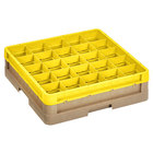 Vollrath CR6B-32908 Traex 25 Compartment Beige Full-Size Closed Wall 4 13/16 inch Glass Rack with 1 Yellow Extender